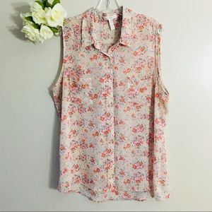 Ambiance Apparel Sleeveless Floral Top 2x